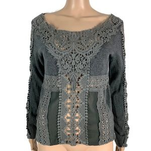 Anthropologie Knitted & Knotted Crochet Knit Top
